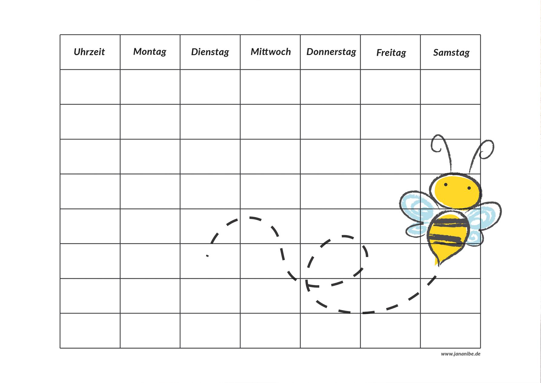 Biene Stundenplan kostenloser Download zum Ausdrucken Schulbeginn - Jana Nibe Mama Blog