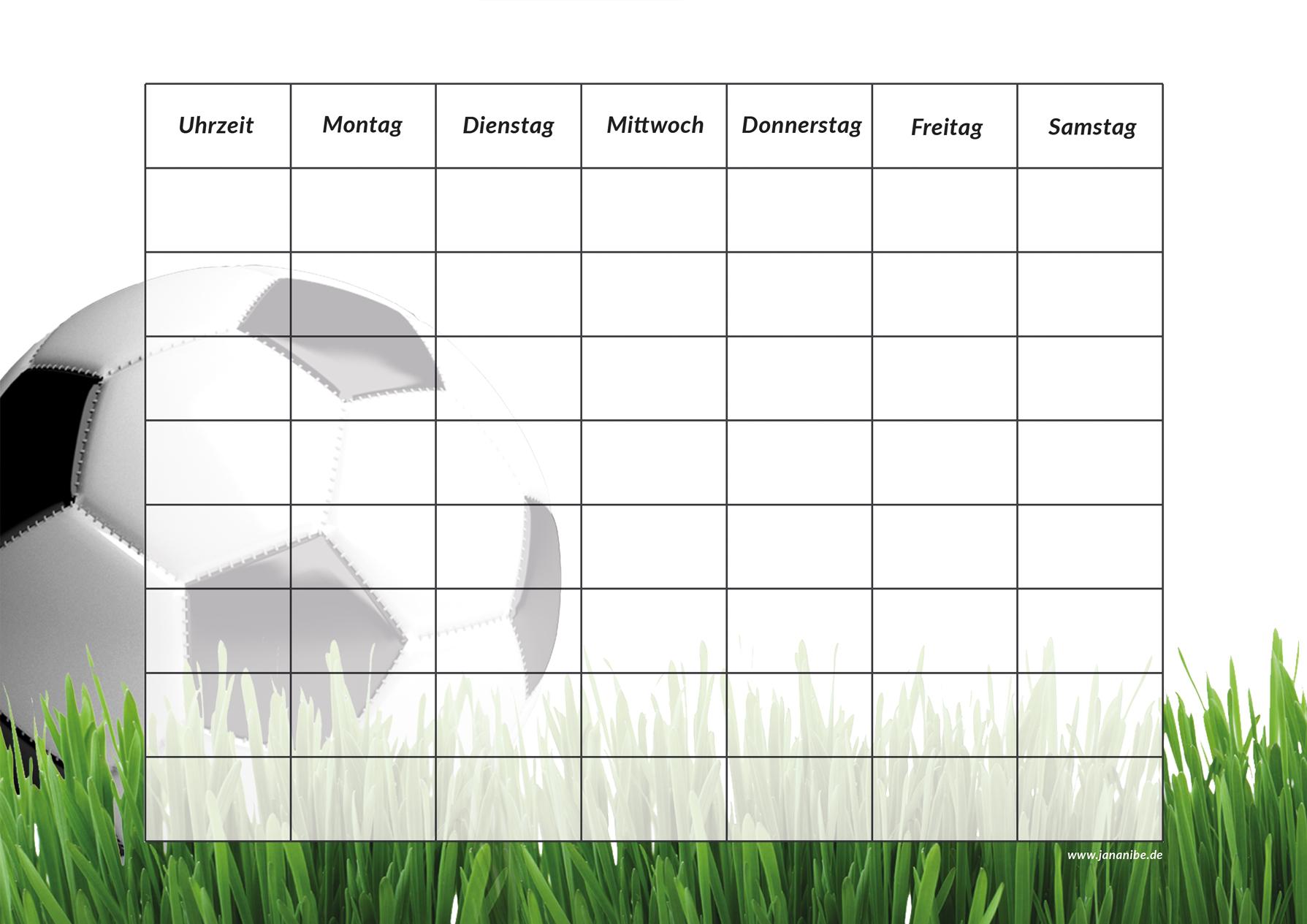Fußball Stundenplan kostenloser Download zum Ausdrucken