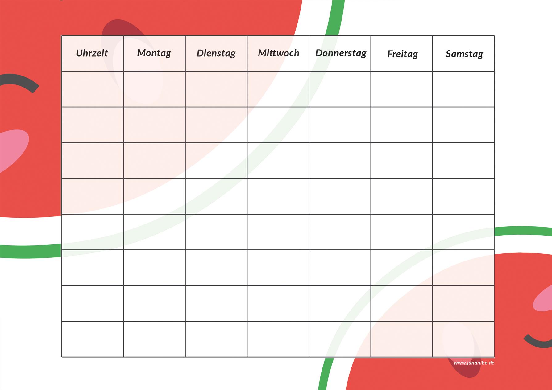 Melone Stundenplan kostenloser Download zum Ausdrucken Schulbeginn - Jana Nibe Mama Blog