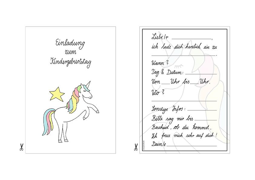 Vorschau Einhorn Party Kindergeburtstag Voder- und Rückseite