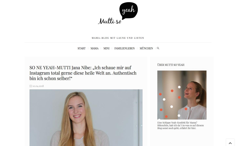 Jana Nibe auf muttisoyeah - TV & Presse - Mama Blog München