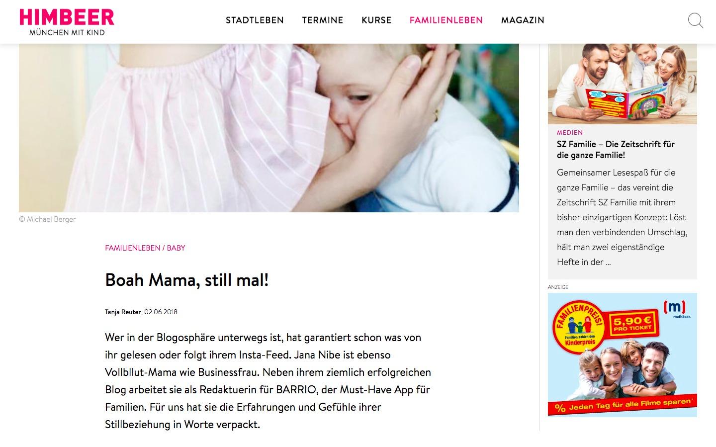 Himbeer Magazin - Kolumne Jana Nibe - Mama Blog - TV und Presse