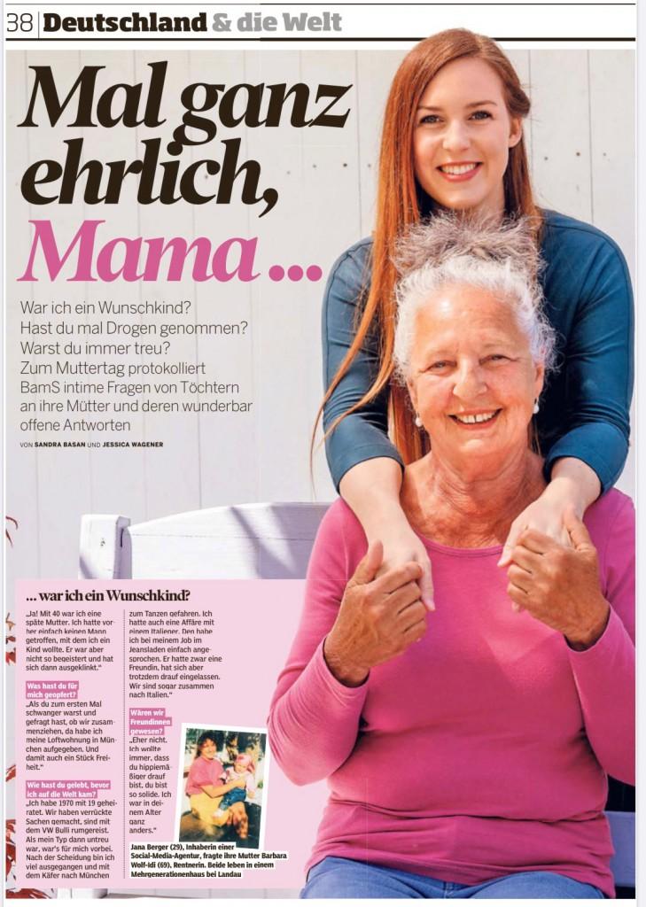 Bild am Sonntag BamS Muttertag Presse Mamablog München Jananibe 2